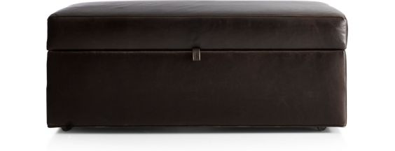 Axis II Leather Storage Ottoman with Tray shown in Libby, Espresso