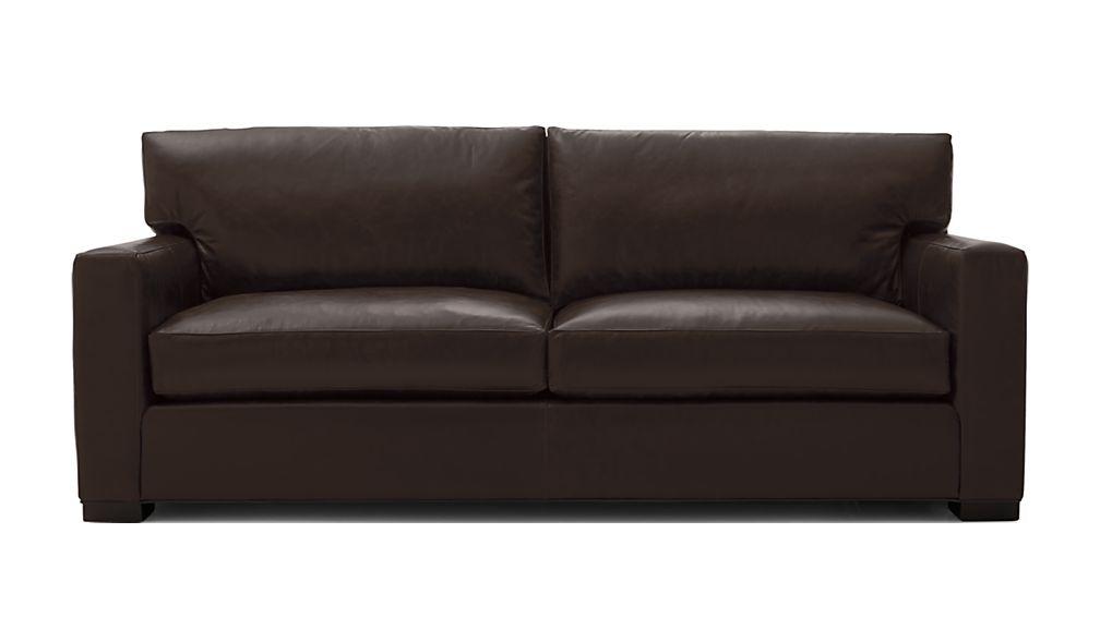 ... Axis II Leather 2-Seat Queen Sleeper Sofa ... - Axis II Brown Leather Queen Sleeper Sofa Crate And Barrel