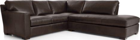 Axis II Leather 2-Piece Right Bumper Sectional Sofa (Left Arm Corner Sofa, Right Bumper) shown in Libby, Espresso