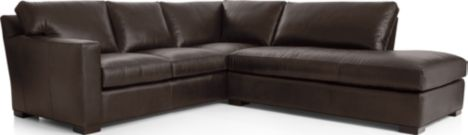 Axis II Leather 2-Piece Right Bumper Sectional Sofa (Left Arm Corner Sofa, Right Bumper) shown in Libby, Espresso