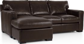 Axis II Leather Left Arm Queen Sleeper Lounger with Air Mattress shown in Libby, Espresso