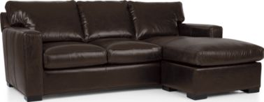 Axis II Leather Right Arm Queen Sleeper Lounger with Air Mattress shown in Libby, Espresso