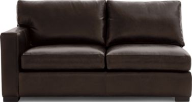 Axis II Leather Left Arm Apartment Sofa shown in Libby, Espresso