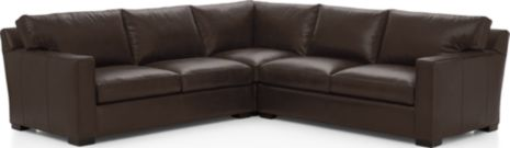 Axis II Leather 3-Piece Sectional Sofa (Left Arm Apartment Sofa, Corner, Right Arm Apartment Sofa) shown in Libby, Espresso
