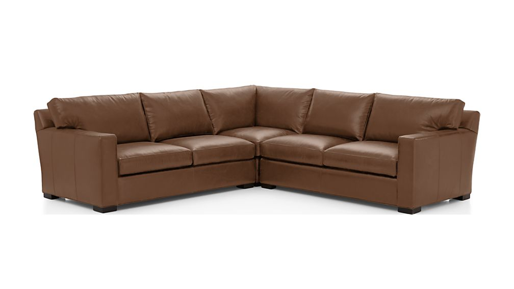 Axis Ii Brown 3 Piece Leather Sectional Sofa Crate And
