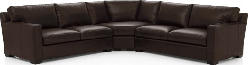 Axis II Leather 3-Piece Sectional Sofa (Left Arm Apartment Sofa, Wedge, Right Arm Apartment Sofa) shown in Libby, Espresso