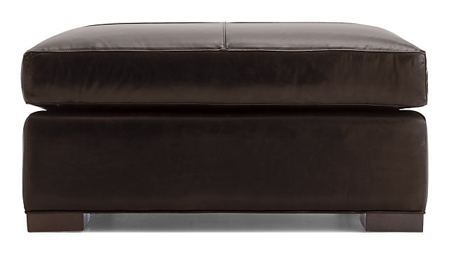 Axis II Leather Square Cocktail Ottoman shown in Libby, Espresso