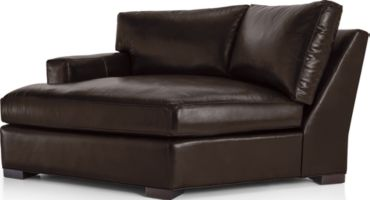Axis II Leather Left Arm Angled Chaise Lounge shown in Libby, Espresso