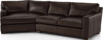 Axis II Leather 2-Piece Left Arm Angled Chaise Sectional Sofa (Left Arm Angled Chaise, Right Arm Apartment Sofa) shown in Libby, Espresso