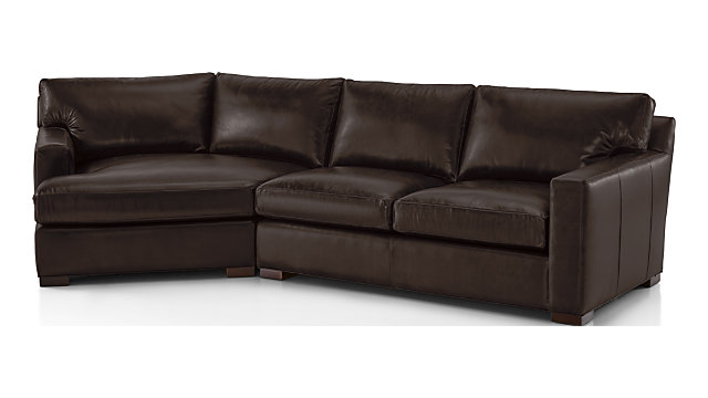Groovy Axis Ii Leather 2 Piece Left Arm Angled Chaise Sectional Sofa Crate And Barrel Canada Caraccident5 Cool Chair Designs And Ideas Caraccident5Info