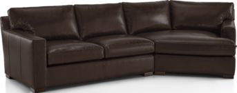 Axis II Leather 2-Piece Right Arm Angled Chaise Sectional Sofa (Left Arm Apartment Sofa, Right Arm Angled Chaise) shown in Libby, Espresso