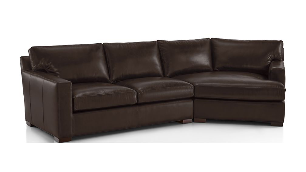 Axis II Leather 2-Piece Right Arm Angled Chaise Sectional Sofa - Image 2 of 2