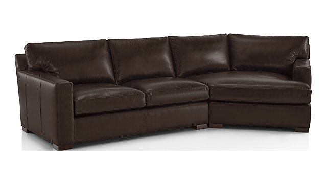 Brilliant Axis Ii Leather 2 Piece Right Arm Angled Chaise Sectional Sofa Crate And Barrel Caraccident5 Cool Chair Designs And Ideas Caraccident5Info