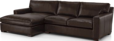 Axis II Leather 2-Piece Left Arm Double Chaise Sectional Sofa (Left Arm Double Chaise, Right Arm Apartment Sofa) shown in Libby, Espresso