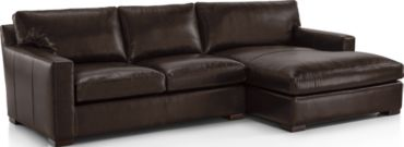 Axis II Leather 2-Piece Right Arm Double Chaise Sectional Sofa (Left Arm Apartment Sofa, Right Arm Double Chaise) shown in Libby, Espresso