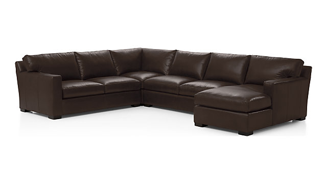 Axis II Leather 4-Piece Sectional Sofa (Left Arm Apartment Sofa, Corner, Armless Loveseat, Right Arm Chaise) shown in Libby, Espresso