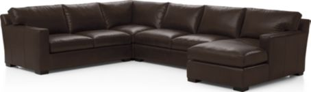 Axis II Leather 4-Piece Sectional Sofa (Right Arm Chaise, Armless Loveseat, Wedge, Left Arm Apartment Sofa) shown in Libby, Espresso