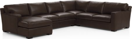 Axis II Leather 4-Piece Sectional Sofa (Left Arm Chaise, Armless Loveseat, Corner, Right Arm Apartment Sofa) shown in Libby, Espresso