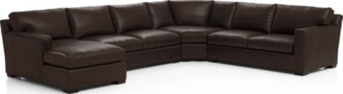 Axis II Leather 4-Piece Sectional Sofa (Right Arm Apartment Sofa, Wedge, Armless Loveseat, Left Arm Chaise) shown in Libby, Espresso