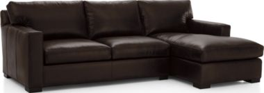 Axis II Leather 2-Piece Sectional Sofa (Left Arm Apartment Sofa, Right Arm Chaise) shown in Libby, Espresso