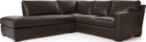 Axis II Leather 2-Piece Sectional Sofa (Left Bumper, Right Arm Corner Sofa) shown in Libby, Espresso