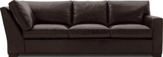 Axis II Leather Right Arm Corner Sofa shown in Libby, Espresso
