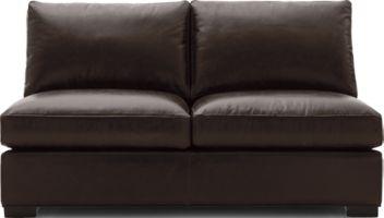 Axis II Leather Armless Full Sleeper Sofa shown in Libby, Espresso