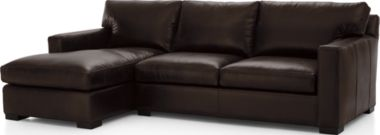 Axis II Leather 2-Piece Sectional Sofa (Left Arm Chaise, Right Arm Apartment Sofa) shown in Libby, Espresso
