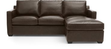 Davis Leather Right Arm 3-Seat Lounger shown in Libby, Cashew