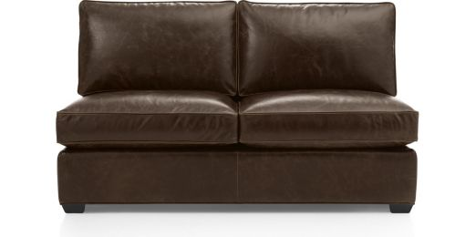 Davis Leather Armless Loveseat shown in Libby, Cashew