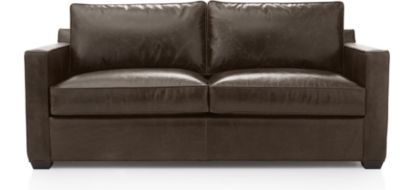 Davis Leather Queen Sleeper Sofa shown in Libby, Cashew