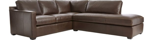 Davis Leather 2-Piece Right Bumper Sectional Sofa (Left Arm Corner Sofa, Right Bumper) shown in Libby, Cashew