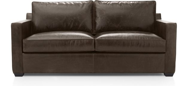 Davis Leather Queen Sleeper Sofa with Air Mattress shown in Libby, Cashew