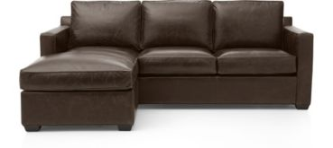 Davis Leather Left Arm Queen Sleeper Lounger shown in Libby, Cashew