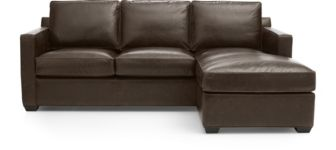 Davis Leather Right Arm Queen Sleeper Lounger shown in Libby, Cashew