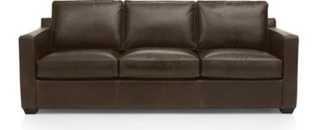 Davis Leather 3-Seat Sofa shown in Libby, Cashew