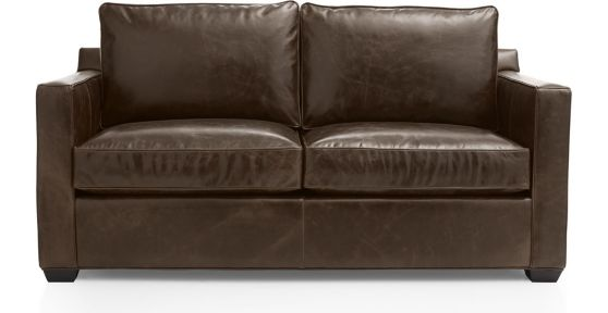 Davis Leather Apartment Sofa shown in Libby, Cashew
