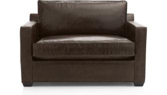 Davis Leather Twin Sleeper Sofa shown in Libby, Cashew