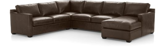 Davis Leather 4-Piece Sectional Sofa (Left Arm Apartment Sofa, Corner, Armless Loveseat, Right Arm Chaise) shown in Libby, Cashew