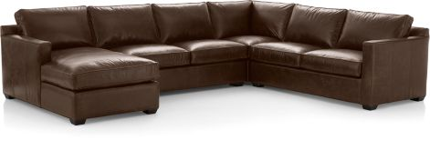 Davis Leather 4-Piece Sectional Sofa (Right Arm Apartment Sofa, Corner, Armless Loveseat, Left Arm Chaise) shown in Libby, Cashew