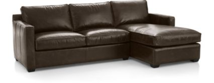 Davis Leather 2-Piece Sectional Sofa (Right Arm Chaise, Left Arm Apartment Sofa) shown in Libby, Cashew