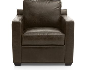 Davis Leather Chair shown in Libby, Cashew