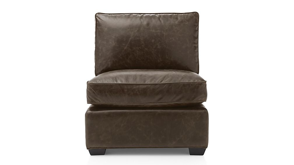 Armless Leather Chairs davis leather armless chair | crate and barrel