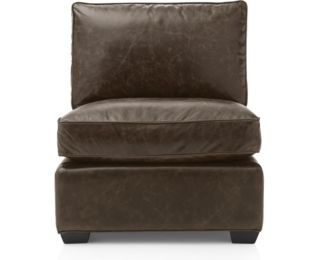 Davis Leather Armless Chair shown in Libby, Cashew