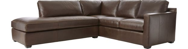 Davis Leather 2-Piece Left Bumper Sectional Sofa (Left Bumper, Right Arm Corner Sofa) shown in Libby, Cashew