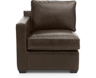 Davis Leather Left Arm Chair shown in Libby, Cashew