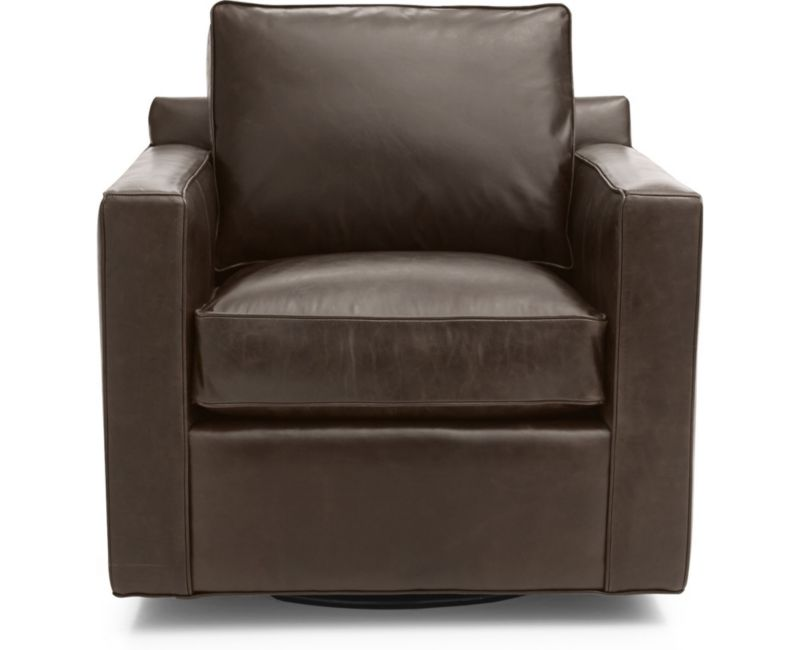 Davis Leather Swivel Chair In Chairs Reviews Crate And