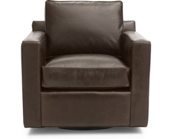 Davis Leather Swivel Chair shown in Libby, Cashew