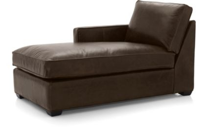 Davis Leather Left Arm Chaise shown in Libby, Cashew