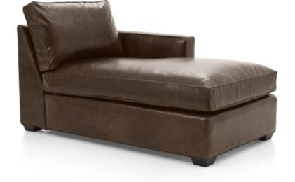 Davis Leather Right Arm Chaise shown in Libby, Cashew